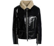 Faux Shearling-trimmed Vinyl Jacket Black