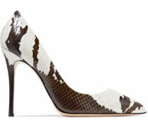Two-tone snake-effect leather pumps
