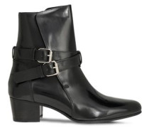 Buckle-detailed Patent-leather Ankle Boots Black