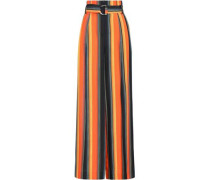 Belted Striped Silk Wide-leg Pants Orange