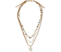 Woman 18-karat Gold-plated Sterling Silver, Multi-stone And Cord Necklace Gold