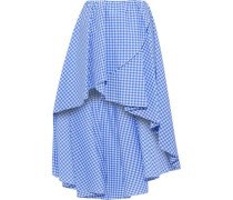 Adelle Asymmetric Gingham Cotton-poplin Mini Skirt Blue