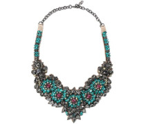 Woman Silver-tone, Satin And Crystal Necklace Multicolor