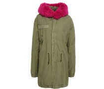 Shearling-trimmed cotton-canvas hooded jacket