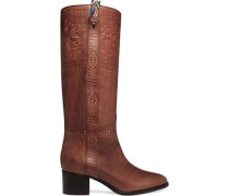 Embossed leather knee boots