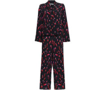 Printed Silk Crepe De Chine Pajama Set Black