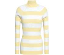 Striped Ribbed-knit Turtleneck Sweater Pastel Yellow Size 0