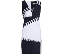Two-tone cotton-blend poplin mini dress
