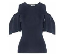 Cold-shoulder stretch-knit top