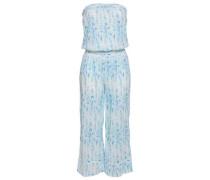 Shirred Printed Cotton-gauze Jumpsuit Sky Blue