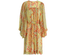 Gathered printed silk-georgette dress