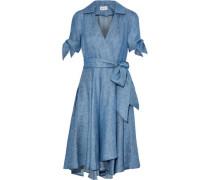 Valerie linen-blend chambray wrap dress