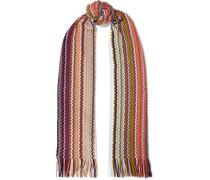 Fringe-trimmed crochet-knit wool-blend scarf