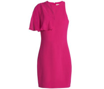 Cutout Chiffon-paneled Stretch-crepe Mini Dress Fuchsia Size 0