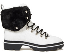 Faux Fur-trimmed Croc-effect Leather Ankle Boots