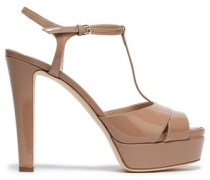 Cutout Patent-leather Platform Sandals Neutral