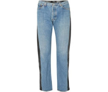 Leather-paneled high-rise straight-leg jeans
