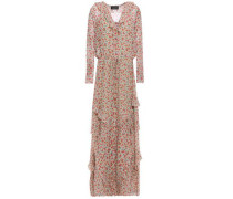 Izzie Ruffle-trimmed Floral-print Silk-georgette Maxi Dress Light Green