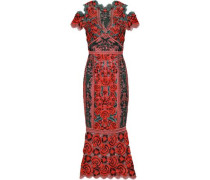 Cold-shoulder Crocheted Maxi Dress Orange Size 16