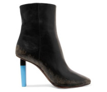 Distressed Leather Ankle Boots Black