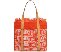 Faux Leather-trimmed Printed Terry Tote Orange Size --