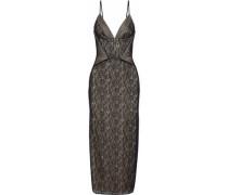 Tess Tulle-paneled Lace Midi Dress Black