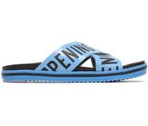 Berkeley Logo-print Faux Leather Slides Light Blue
