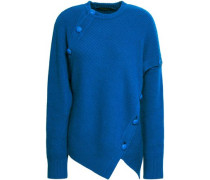 Button-detailed Wool And Cashmere-blend Sweater Cobalt Blue