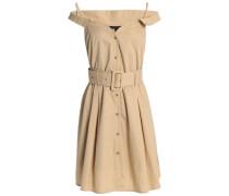 Simpson cold-shoulder belted cotton-poplin shirt dress