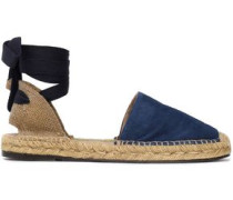 Lace-up suede espadrilles