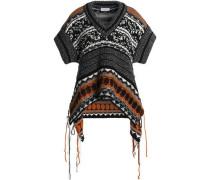 Frayed jacquard-knit sweater