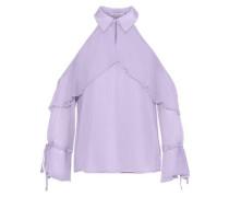 Blayne Cold-shoulder Ruffled Silk-chiffon Blouse Lilac