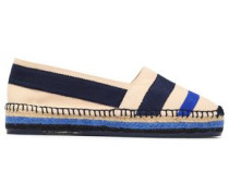 Grosgrain And Canvas-paneled Espadrilles Blue