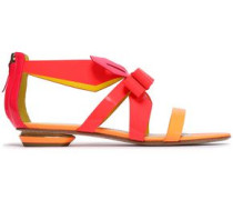 Bow-embellished Neon Smooth And Patent-leather Sandals Bright Orange