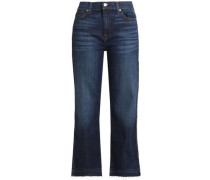 Cropped faded mid-rise booctut jeans