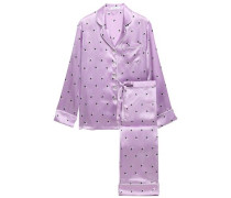 Woman Lila Printed Silk-charmeuse Pajama Set Lavender
