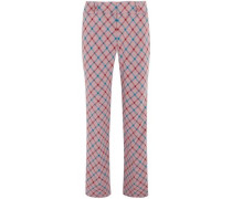 Checked Brushed-twill Bootcut Pants Lavender