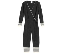 Wrap-effect cropped wool and cashmere-blend jumpsuit