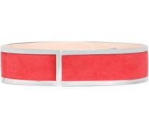 Leather-trimmed suede belt