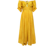Woman Unearthed Off-the-shoulder Knotted Crinkled Silk-crepe Midi Dress Saffron