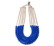 Gold-tone Beaded Necklace Blue Size --