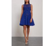 Kanshou Embellished Silk-blend Tulle Mini Dress Navy