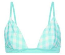 The Morgan Gingham Triangle Bikini Top Mint