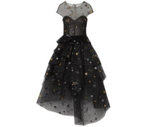 Asymmetric Tiered Glittered Tulle Midi Dress Black
