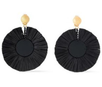 Gold-tone, Raffia And Resin Clip Earrings Black Size --