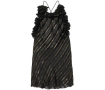 Metallic Striped Silk-blend Jacquard Top Black