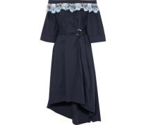 Off-the-shoulder crochet-paneled cotton-blend poplin midi dress