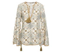 Embroidered Printed Cotton And Silk-blend Blouse Ivory