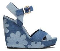 Floral-appliquéd Denim Wedge Sandals Light Blue