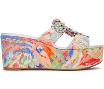 Embellished Printed Crepe Platform Sandals Multicolor